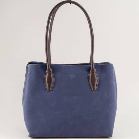 Синя дамска чанта с три прегради- DAVID JONES cm5327s