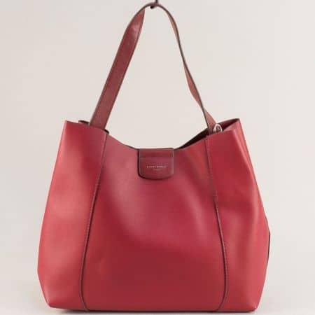 Дамска чанта в цвят бордо с къса дълга дръжка cm5333bd