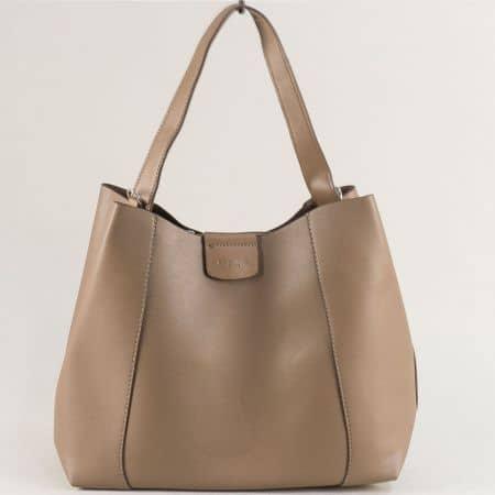 Дамска чанта в бежов цвят с къса и дълга дръжка  cm5333bj