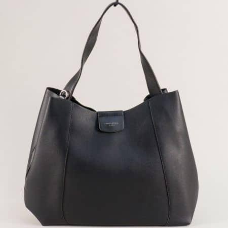 Дамска чанта в черен цвят с къса и дълга дръжка cm5333ch
