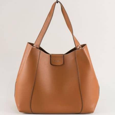 Кафява дамска чанта, тип торба- DAVID JONES cm5333k