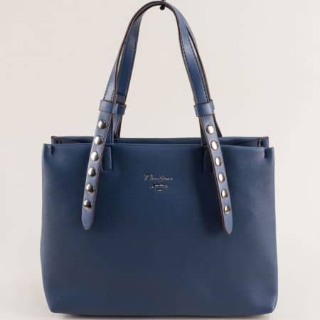 Синя дамска чанта с капси и три прегради- DAVID JONES cm5334s