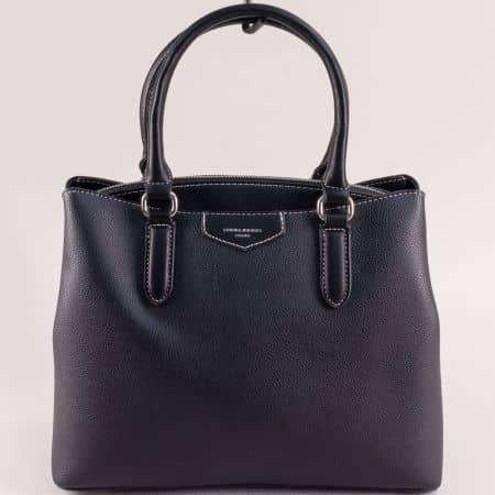 Дамска чанта с три прегради в черен цвят- DAVID JONES cm5347ch