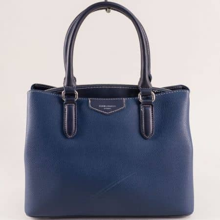 Дамска чанта с три прегради в син цвят- DAVID JONES cm5347s