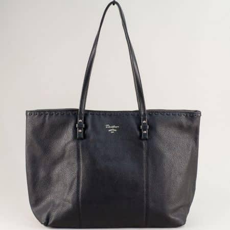Дамска чанта в черен цвят с две дръжки- DAVID JONES cm5350ch