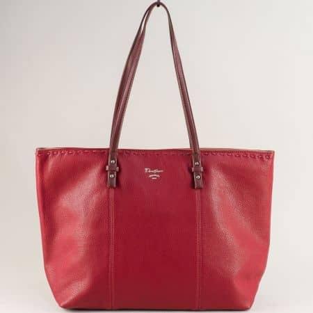 Червена дамска чанта с две дръжки- DAVID JONES cm5350chv