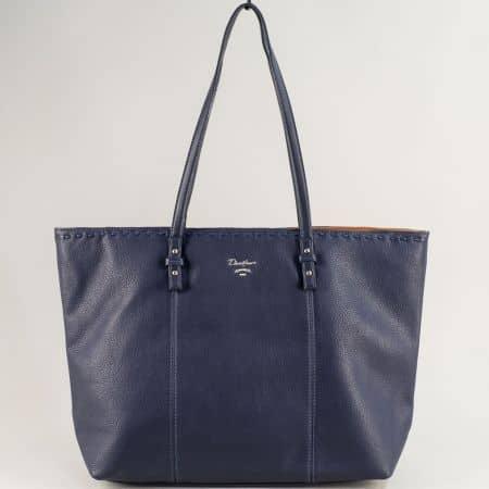 Синя дамска чанта с външно и вътрешно джобче с цип cm5350s