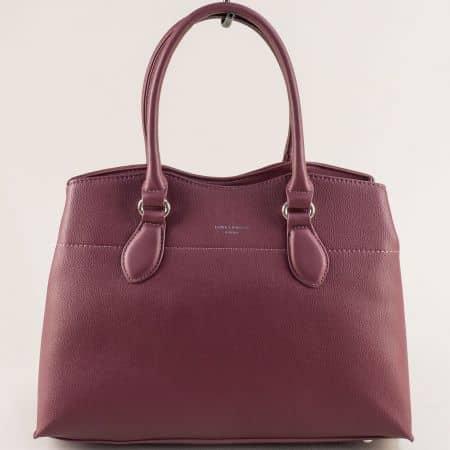Дамска чанта в цвят бордо- DAVID JONES с три прегради cm5352bd