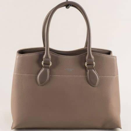 Дамска чанта в бежов цвят- DAVID JONES с три прегради cm5352bj