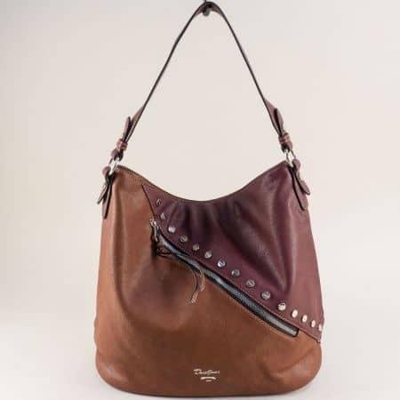 Дамска чанта, тип торба в кафяво и бордо- DAVID JONES cm5356bd