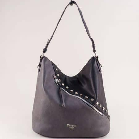Френска дамска чанта, тип торба в сиво и черно cm5356ch