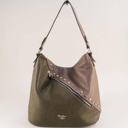 Френска дамска чанта, тип торба в зелено и кафяво cm5356k