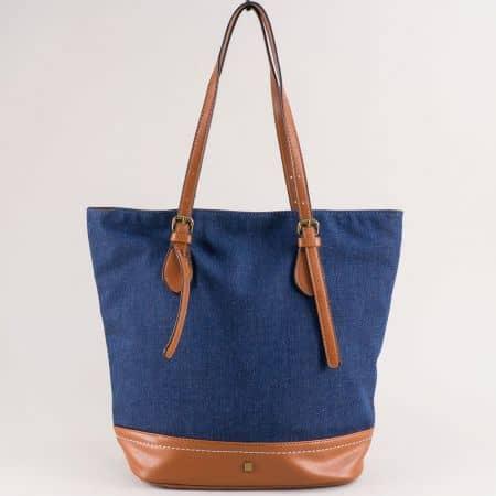 Дамска чанта в кафяво и синьо- DAVID JONES cm5364s