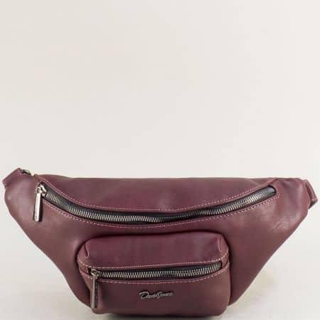 Дамска чанта за кръста- DAVID JONES в цвят бордо cm5371bd