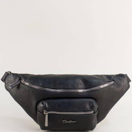 Черна дамска чанта за кръста- DAVID JONES cm5371ch