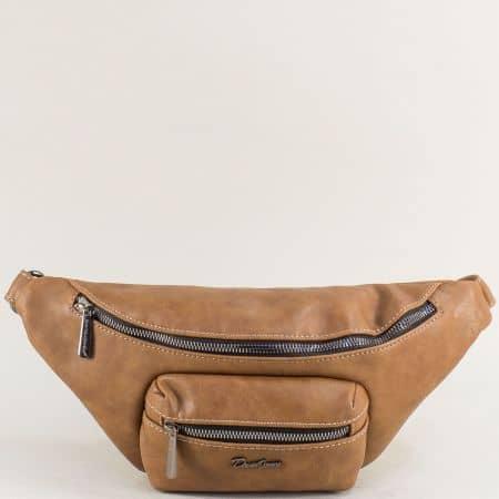 Кафява дамска чанта за кръста- DAVID JONES cm5371k