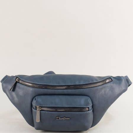 Синя дамска чанта за кръста- DAVID JONES cm5371s