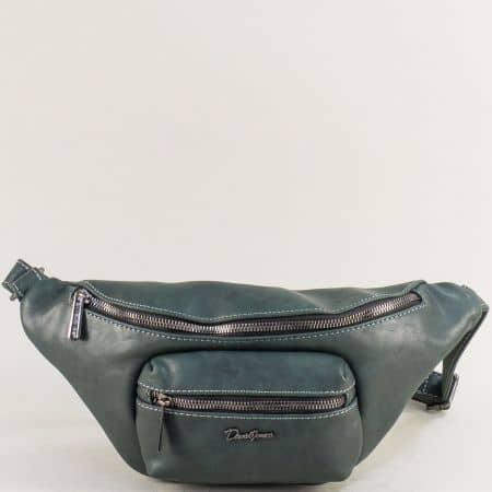 Дамска чанта за кръста в зелен цвят- DAVID JONES cm5371z