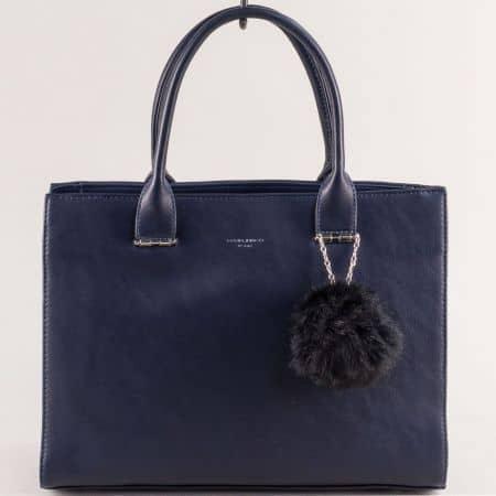 Дамска чанта в син цвят с пухче- DAVID JONES cm5377s