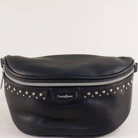 Дамска чанта в черен цвят за кръста- DAVID JONES cm5379ch