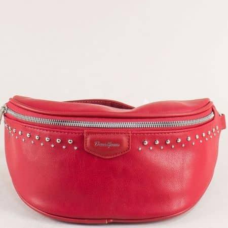 Червена дамска чанта за кръста с капси- DAVID JONES cm5379chv