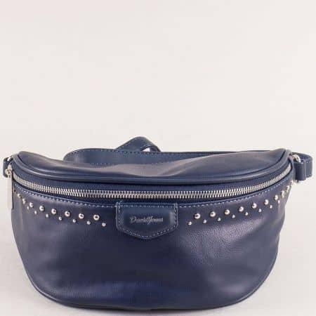 Синя дамска чанта за кръста с капси- DAVID JONES cm5379s