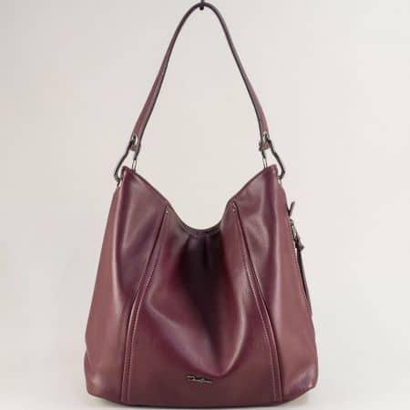 Дамска чанта, тип торба с къса и дълга дръжка в бордо cm5389bd