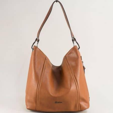 Кафява дамска чанта, тип торба с къса и дълга дръжка cm5389k