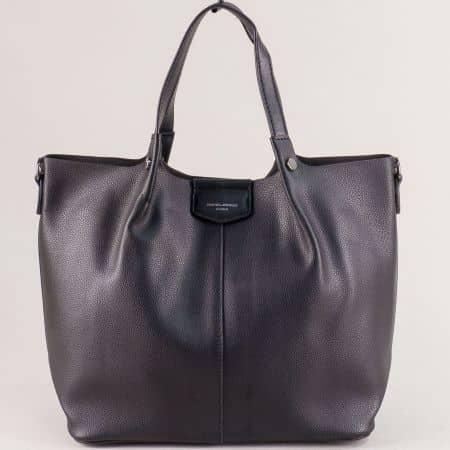 Черна дамска чанта с органайзер- DAVID JONES cm5395ch