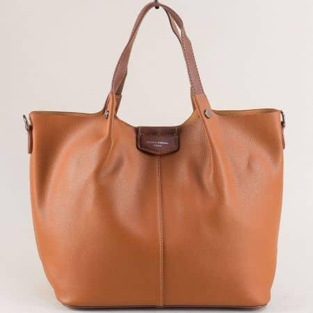 Кафява дамска чанта, тип торба с органайзер- DAVID JONES cm5395k