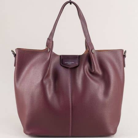 Дамска чанта в цвят бордо с органайзер- DAVID JONES cm5395l