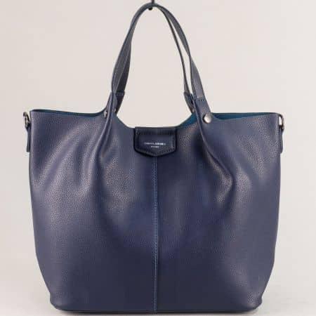 Синя дамска чанта с органайзер- DAVID JONES cm5395s