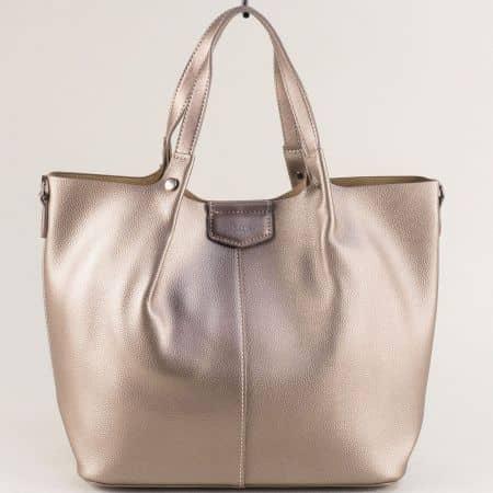 Златна дамска чанта, тип торба с органайзер cm5395zl