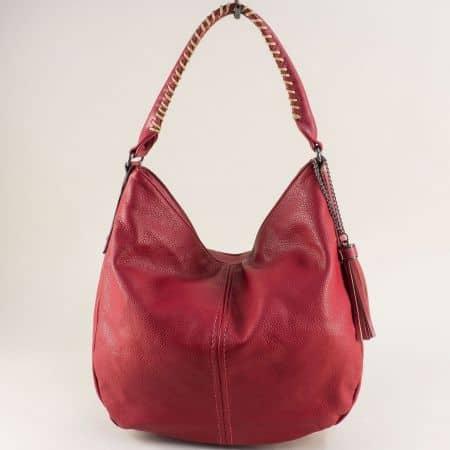 Червена дамска чанта, тип торба с пискюл- DAVID JONES cm5397achv