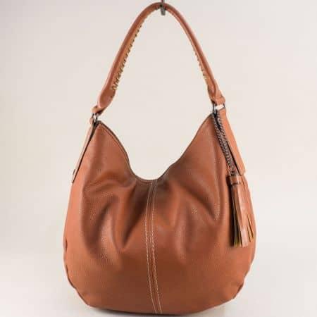 Френска дамска чанта, тип торба с пискюл в кафяво cm5397ak