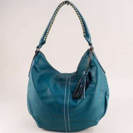 Френска дамска чанта, тип торба с пискюл в зелен цвят cm5397az