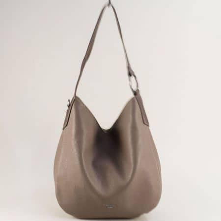 Бежова дамска чанта с къса и дълга дръжка- DAVID JONES cm5428bj