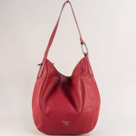 Червена дамска чанта, тип торба с каса и дълга дръжка cm5428chv