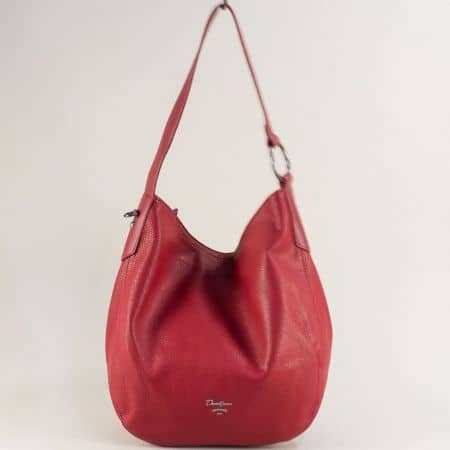 Червена дамска чанта, тип торба- DAVID JONES cm5428chv