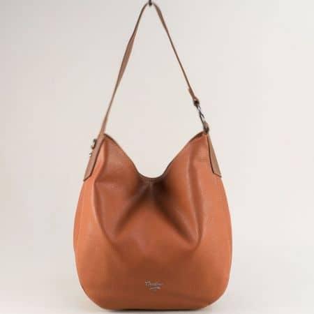 Кафява дамска чанта с къса и дълга дръжка- DAVID JONES cm5428k