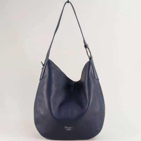 Синя дамска чанта с къса и дълга дръжка- DAVID JONES cm5428s