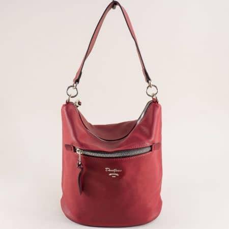 Червена дамска чанта с два външни джоба- DAVID JONES cm5453chv
