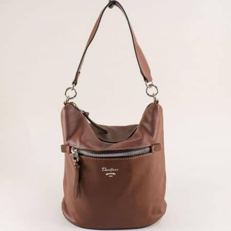 Кафява дамска чанта с два външни джоба- DAVID JONES cm5453k
