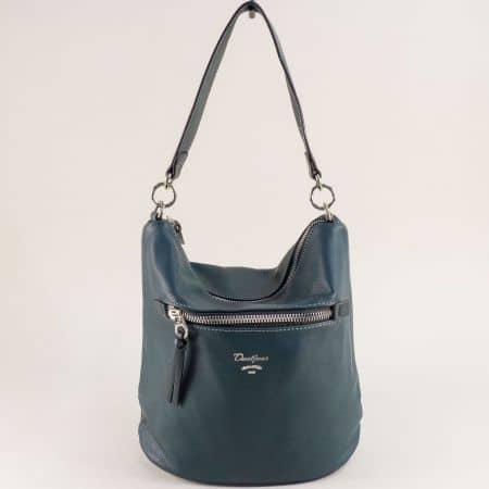 Зелена дамска чанта с два външни джоба- DAVID JONES cm5453z
