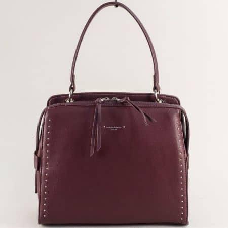 Дамска чанта в бордо- DAVID JONES с къса и дълга дръжка cm5459bd