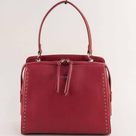 Дамска чанта в червен цвят с къса и дълга дръжка cm5459chv