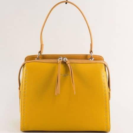 Жълта дамска чанта- DAVID JONES с къса и дълга дръжка cm5459j