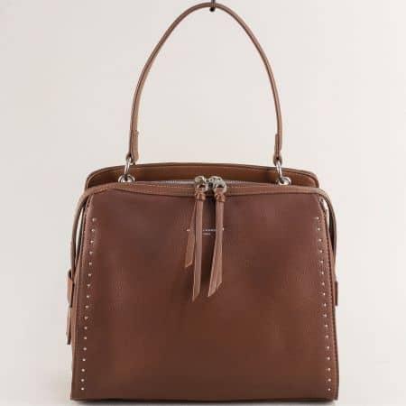 Кафява дамска чанта- DAVID JONES с къса и дълга дръжка cm5459k