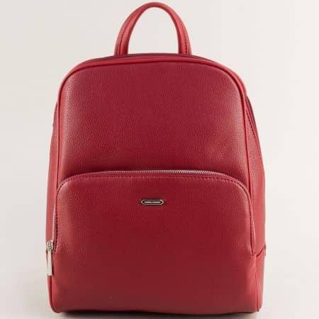 Червена дамска раница с два външни джоба- DAVID JONES cm5485chv