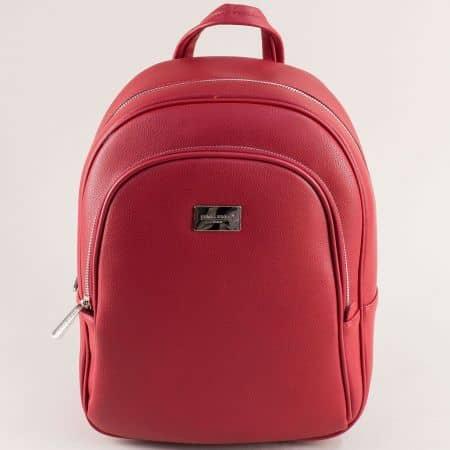 Дамска раница в червен цвят с два основни джоба cm5601achv